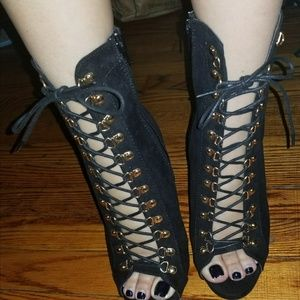 Black Lace up Bootie NWOT